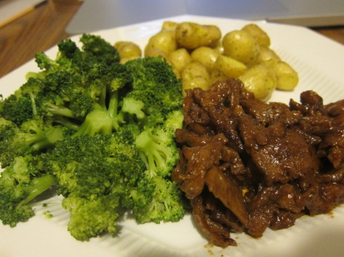 "Roasted ""teeny tiny potatoes"", Steamed Broccoli, BBQ Seitan"